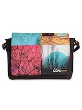 Black Digital Printed Faux Leather Laptop Bag - Belkado Fashion