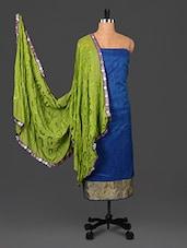 Blue Embroidered Jute Silk Dress Material - Saara