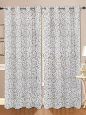 Set Of 2 Cotton Gold Printed Curtain - By