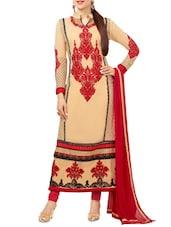White Printed Georgette Straight Salwar Suit Suit Set - PARISHA