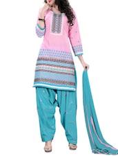 Pink Embroidered Cotton Unstitched Patiala Suit Set - PARISHA