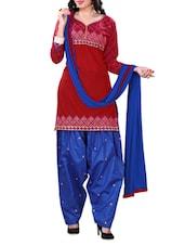 Red Embroidered Cotton Unstitched Patiala Suit Set - PARISHA