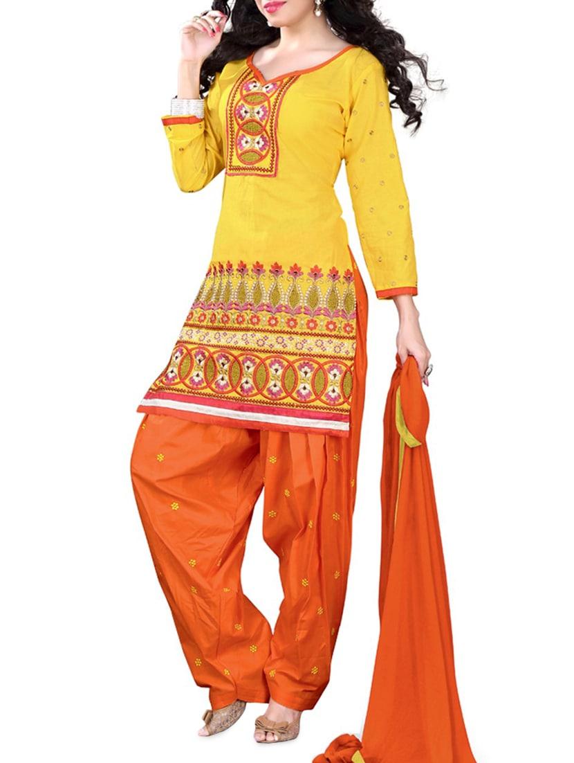 Yellow Embroidered Cotton Unstitched Patiala Suit Set - PARISHA