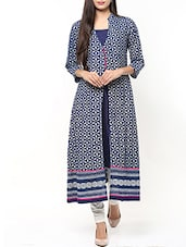 Indigo Hand Block Print Cotton Kurta -  online shopping for kurtas