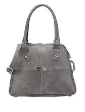Solid Grey Leatherette Handbag - Bags Craze