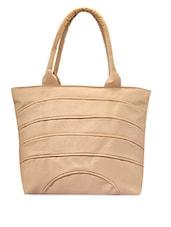 Solid Beige Leatherette Handbag - Bags Craze