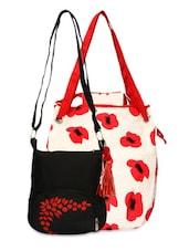 Set Of White Printed Bag And Black Sling Bag - By