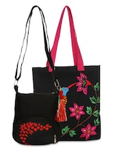 Set Of Black Tote And Black Sling Bag - By