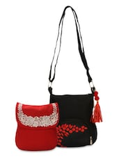 Set Of Red And Black Sling Bags - By