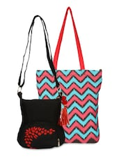Set Of Multicoloured Tote And Black Sling Bag - By