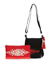 Set Of Red Wristlet And Black Sling Bag - By