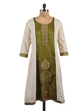 Green Cotton Printed Kurta With Zari Detail - By