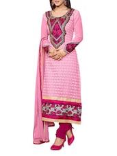 Pink Embroidered Georgette Suit Set - Khushali