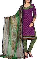 Purple Crepe Unstitched Dress Material - By