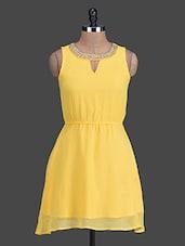 Beaded Neckline On Sleeveless Sheer Dress - HEART MADE