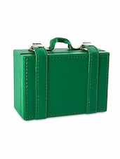 Green Leather Suitcase Visiting Card Holder - By