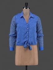 Polka Dot Printed Tie Up Chiffon Shirt - By