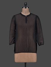 Printed Black Sheer Georgette Top - Eavan