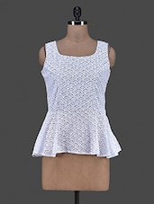 Sleeveless White Lace Peplum Top - Eavan