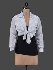 Printed Georgette Tie Up Shirt With Spaghetti Top - Eavan