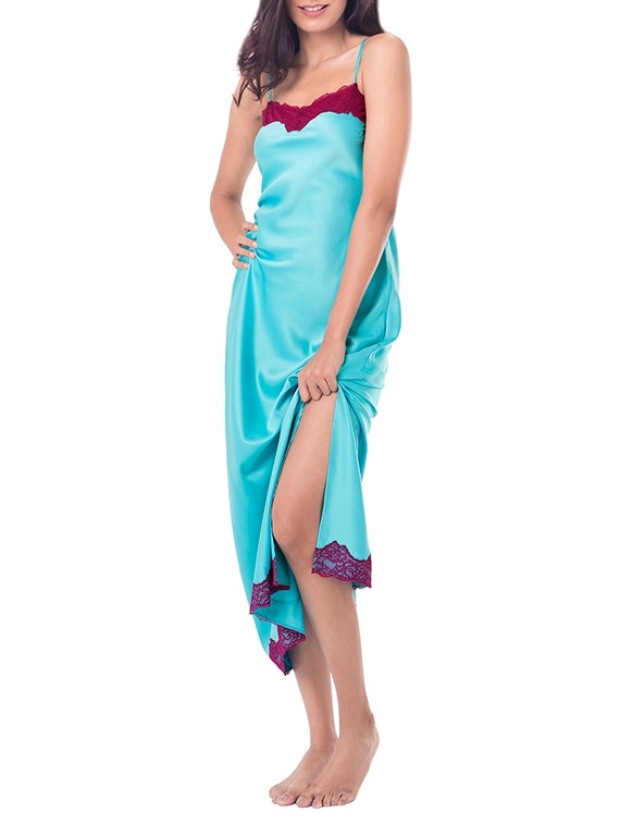 085fce3b42 Buy Blue Satin Lace Trim Nighty by Prettysecrets - Online shopping for  Sleepshirts   Nighties in India