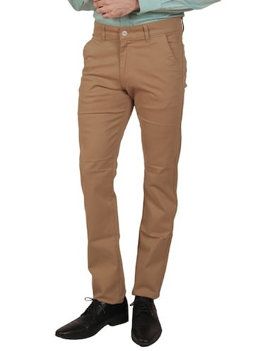 solid brown cotton formal trouser - 11668683 - Standard Image - 1