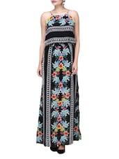 Black Polycrepe Printed Maxi Dress - Envy Me NY