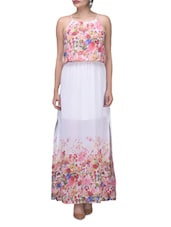 White And Pink Georgette Printed Maxi Dress - Envy Me NY