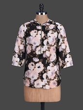 Quarter Sleeves Floral Print Georgette Top - London Off