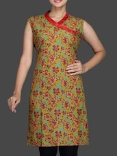 Multicolour Printed Sleeveless Cotton Kurta - Sutee