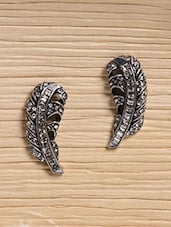 Silver Metallic Studded Feather Earrings - Infuzze