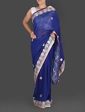 Blue Pure Georgette Gota Patti Saree - K R Fashion