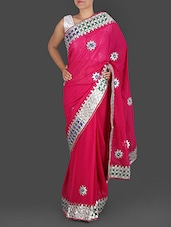 Dark Pink Pure Georgette Gota Patti Saree - K R Fashion