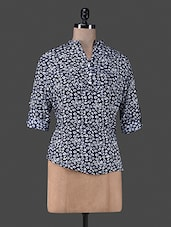 Blue Printed Cotton Top - Vastrasutra- The Art Of Dressing Up