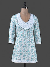 Blue Floral Printed Cotton Top - Vastrasutra- Exclusive