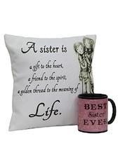 Multi-coloured   Ceramic Mug And Cotton Cushion - By