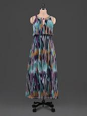 Printed Chiffon Blouson Maxi Dress - By