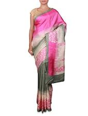Pink And Grey Bhagalpuri Silk Printed Sari - By
