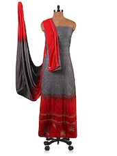 Grey And Red Embroidered Unstitched Suit Set - By