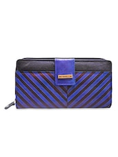 Blue Leather Ladies Wallet Clutch - By