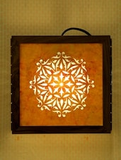 Multi-coloured Wooden Sanjhi Work Contemporary Wall Lamp - Unravel India