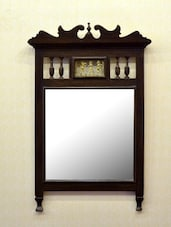 Brown wooden dhokra mirror -  online shopping for Decorative Mirrors