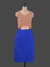 Sleeveless Round Neck Chevron Print Dress - Bumpkin