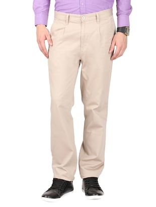 beige cotton casual trouser -  online shopping for Casual Trousers