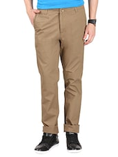 solid light brown cotton casual trouser -  online shopping for Casual Trousers
