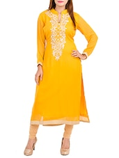 yellow georgette embroidered kurta -  online shopping for kurtas