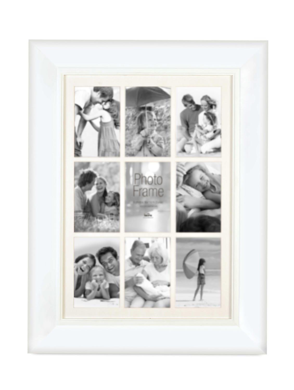 White Plastic Photo Frame With 9 Slots - Innova By HC
