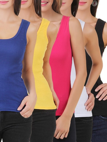 multi colored cotton tank tee set of 5 - 11707306 - Standard Image - 1