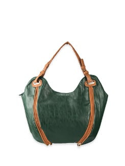 Green Double Zipper Front Style Bag - Lino Perros