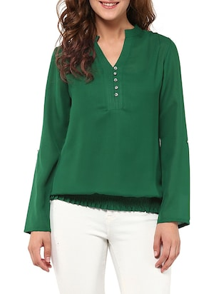 f2e220e8 Buy Dark Green Full-sleeved Top for Women from The Vanca for ₹360 at 60%  off | 2019 Limeroad.com